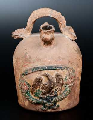 Rare Ohio Cold-Painted Stoneware Serpent-Handled Harvest Jug w/ Applied Eagle Plaque