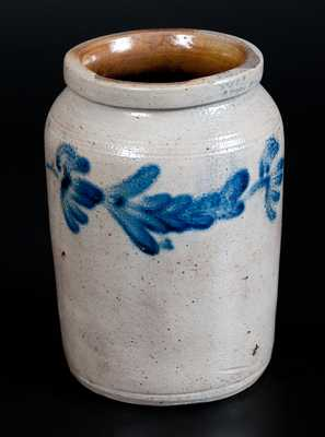 Philadelphia Half-Gallon Stoneware Jar with Floral Decoration, Philadelphia, c1845
