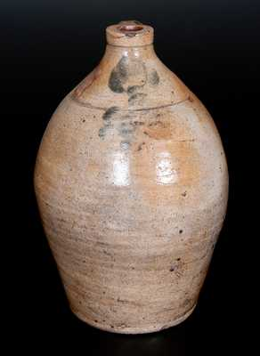 One-Gallon Ovoid Stoneware Jug with Floral Decoration