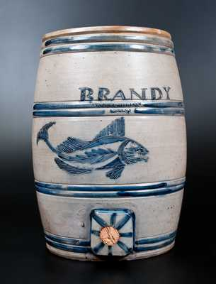 Extremely Important TYLER & DILLON / ALBANY Stoneware BRANDY Keg w/ Exceptional Incised Fish Decoration