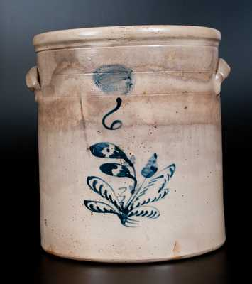 J. BURGER JR. / ROCHESTER, NY Six-Gallon Stoneware Jar w/ Floral Decoration