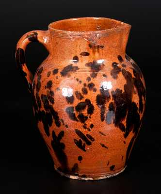 Fine New England Redware Pitcher, possibly Bristol County, MA, c1800