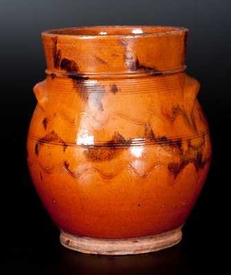 New England Bulbous Redware Jar with Manganese Decoration