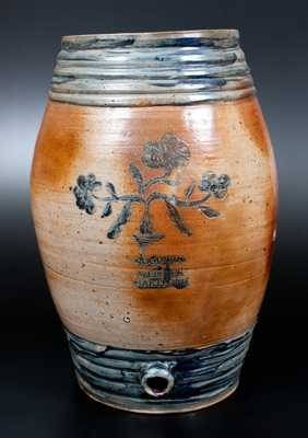 Monumental GOODWIN & WEBSTER / HARTFORD Stoneware Keg w/ Incised Floral Decoration
