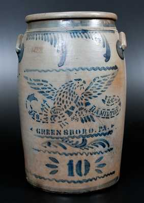 10 Gal. JAS. HAMILTON & CO. / GREENSBORO, PA Stoneware Jar w/ Stenciled Eagle and Freehand Decoration