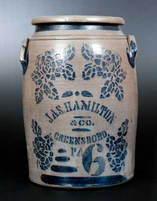 JAS. HAMILTON & CO. / GREENSBORO, PA Six-Gallon Stoneware Jar w/ Stenciled Rose Decoration