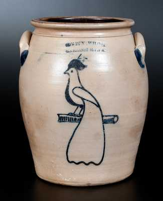 Rare COWDEN & WILCOX / HARRISBURG, PA Four-Gallon Stoneware Jar w/ Peacock Decoration