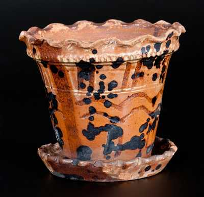 Unusual Redware Flowerpot with Crimped Rim, Tooled Design and Manganese Decoration