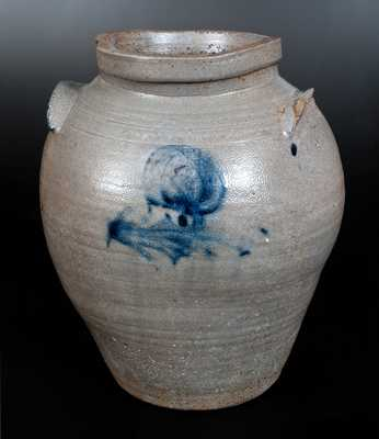 Four-Gallon James River Stoneware Jar w/ Cobalt Floral Decoration and Cobalt Handles