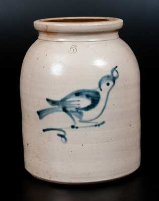 Fulper Bros. (Flemington, NJ) Six-Quart Stoneware Jar with Bird Decoration