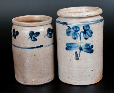 Lot of Two: Baltimore Stoneware Jars, One- and One-and-a-Half-Gallon