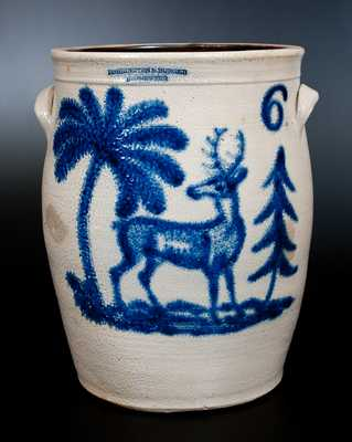 Very Rare HARRINGTON & BURGER / ROCHESTER Six-Gallon Crock w/ Elaborate Deer Scene