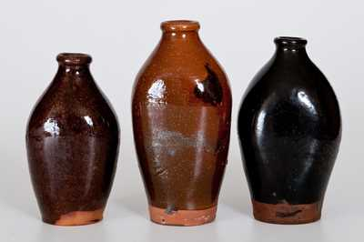 Lot of Three: Glazed Redware Flasks, probably Huntington, Long Island