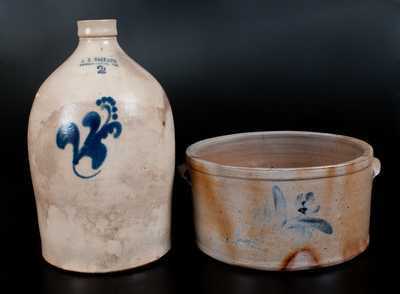 Lot of Two: Cake Crock and A. K. BALLARD / BURLINGTON, VT Stoneware Jug