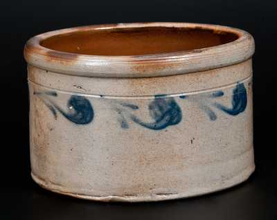 Stoneware Butter Crock with Slip-Trailed Decoration, New Jersey, circa 1890