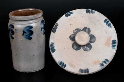Lot of Two: Baltimore Decorated Stoneware Lid and Jar