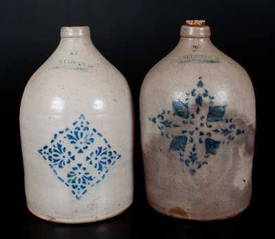 Lot of Two: F. H. COWDEN / HARRISBURG, PA Stoneware Jugs with Stenciled Decoration
