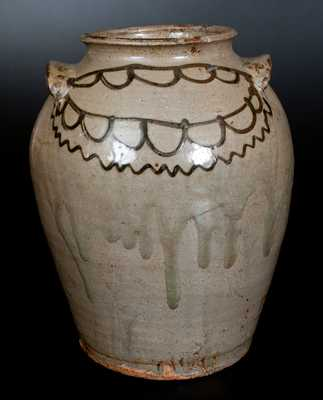 Attrib. Thomas Chandler Stoneware Jar with Elaborate Iron Slip Decoration, c1850