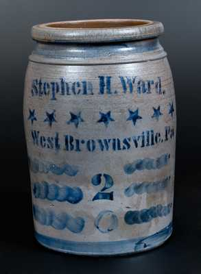 Outstanding STEPHEN H. WARD / WEST BROWNSVILLE, PA Stoneware Jar with Stars Decoration