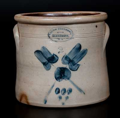 BROWN BROTHERS / HUNTINGTON, L.I. Stoneware Crock w/ Crossed Floral and Spotted Decoration