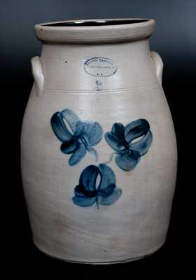 BROWN BROTHER , / HUNTINGTON, / L.I. Stoneware Churn with Floral Decoration