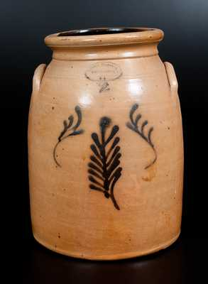 BROWN BROTHER / HUNTINGTON / L.I. Stoneware Jar with Slip-Trailed Decoration