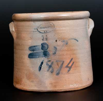Rare BROWN BROTHERS / HUNTINGTON / L.I. Stoneware Crock with Floral Decoration and 1874 Date