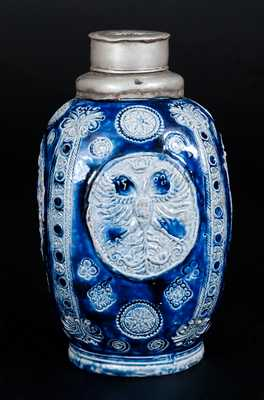 Very Rare Stoneware Bottle w/ Habsurg Armorial Medallion Dated 1598, Westerwald, Germany, 17th century