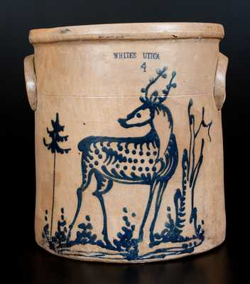 WHITES UTICA Stoneware Jar with Elaborate Deer Decoration