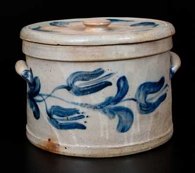Exceptional JOHN BELL / WAYNESBORO Stoneware Cake Crock w/ Lid and Exuberant Cobalt Floral Decoration