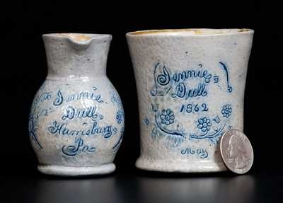 Cowden, Harrisburg, Pennsylvania, Miniature Pitcher & Mug Set, 1862
