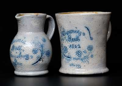 Extremely Rare Harrisburg, PA Miniature Pitcher and Mug Set, 1862, attrib. F.H. Cowden