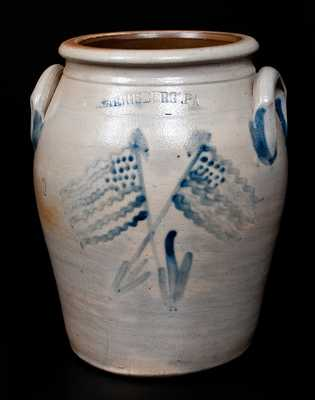 Very Rare HARRISBURG, PA Stoneware Jar with Crossed American Flag Decoration