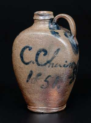 Outstanding probably James River Basin, Virginia Stoneware Handled Flask Inscribed