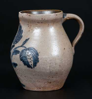 Extremely Fine Miniature Ohio Stoneware Pitcher w/ Detailed Floral Decoration