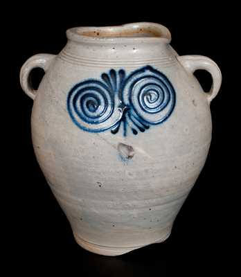 Rare Stoneware Jar with Vertical Handles and Bold Watchspring Decoration, probably Cheesequake, NJ, c1775