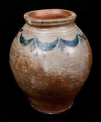 Very Rare COERLEARS HOOK Stoneware Jar, Thomas Commeraw, Manhattan, c1800