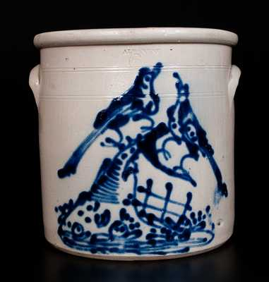 Exceptional ALBANY, NY Six-Gallon Stoneware Jar w/ Elaborate Double Bird Scene