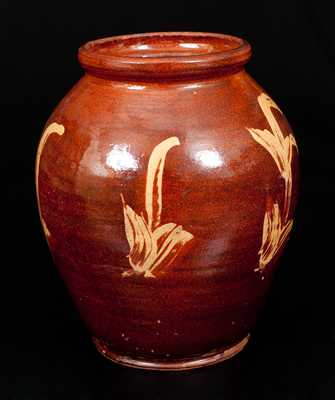 Very Rare New England Redware Jar w/ Yellow Slip Decoration, possibly Capt. John Norton, Bennington, VT, c1800