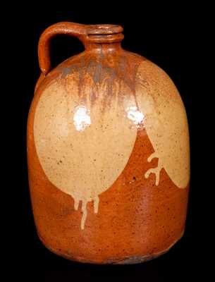 Two-Gallon Galena, Illinois, Redware Jug w/ Yellow Slip Circle Decoration