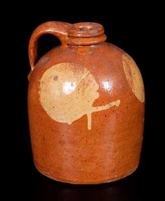 Galena, IL Redware Jug w/ Yellow Slip Moon Designs