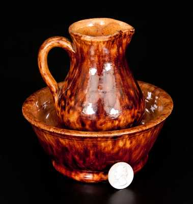 Rare Miniature Glazed Redware Pitcher and Bowl Set, Stamped