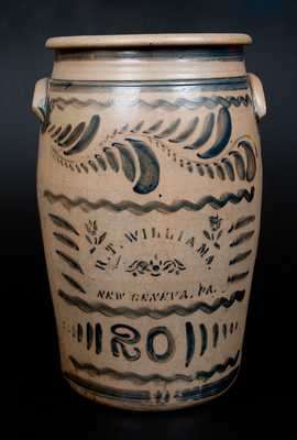 Exceptional 20 Gal. R. T. WILLIAMS / NEW GENEVA, PA Stoneware Crock with Profuse Brushed Decoration