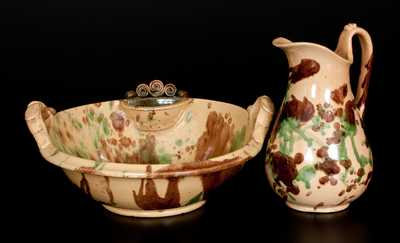 Shenandoah Valley Multi-Glazed Redware Pitcher and Washbowl Set, att. S. Bell & Sons, Strasburg, VA, circa 1890