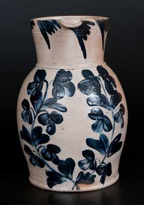 Rare Three-Gallon Baltimore Stoneware Pitcher with Cobalt Floral Decoration