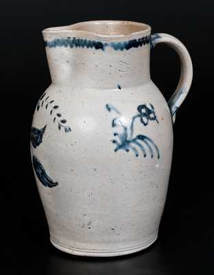 Very Rare Baltimore Stoneware Pitcher w/ Fine Incised Floral Decoration, c1815-1825