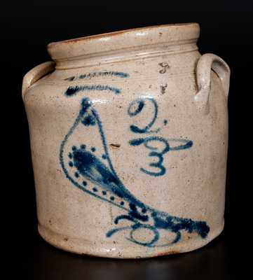 Two-Gallon S. HART / FULTON Stoneware Jar w/ Cobalt Bird Decoration, c1860
