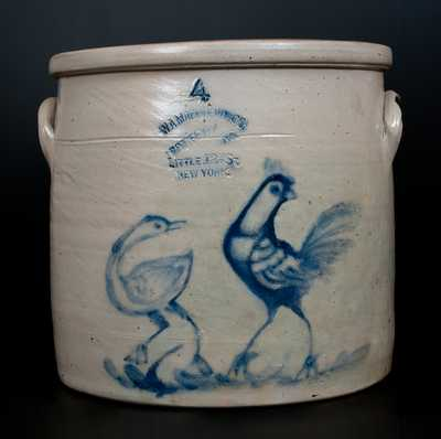 Rare W.A. MACQUOID & CO. / POTTERY WORKS. / LITTLE 12TH ST / NEW YORK Double-Bird Crock