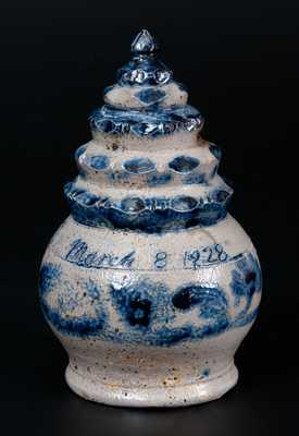 Exceptional Stoneware Bank w/ Stepped Finial and Floral Decoration Inscribed