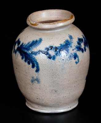 Rare Small Ovoid Baltimore Stoneware Jar w/ Slip-Trailed Floral Decoration, c1820